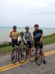 Arriving on the shore of Lake Huron with my usual riding companions, Henry and Rolf.