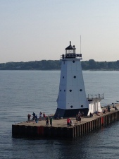 View of Ludington Lighthouse, from the S.S. Badger